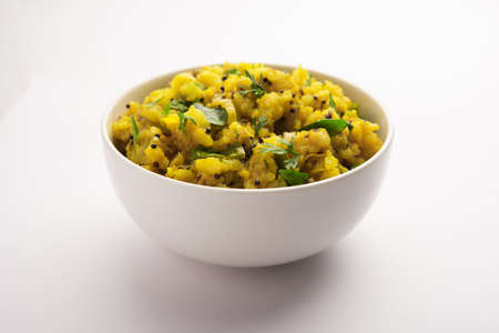 Mashed potatoes spicy curry known as Aloo ka bharta or chokha or sabzi, popular in northern India. served in a bowl