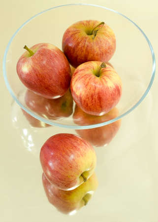 Apples in Glass Bowl Stock Photo