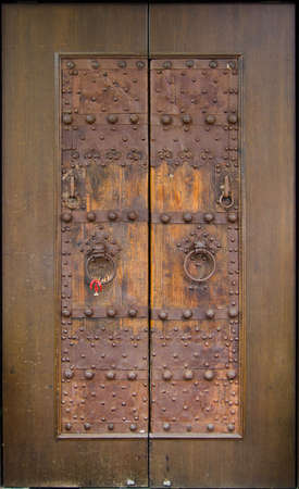 Restored and Reused Ancient Chinese Door Stock Photo