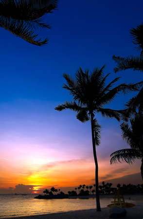 swaying: Sunset over tropical beach resort Stock Photo