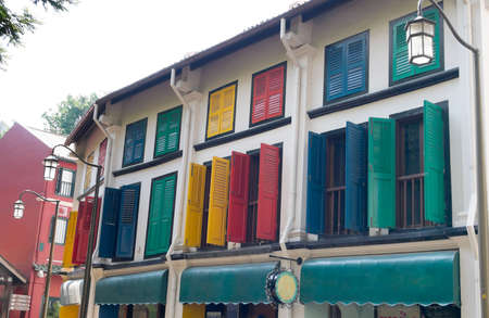 Colorful Shutters on a Street Corner