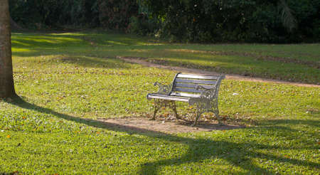 Park Bench Illuminated by Setting Sun