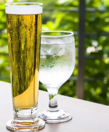 Cold Beer and Water Stock Photo