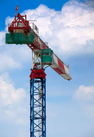 counterweight: Tower Crane Operator Ascending Stock Photo