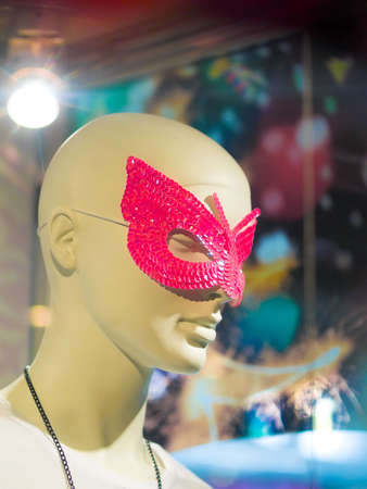 Pink-Sequined Butterfly-shaped Mask photo