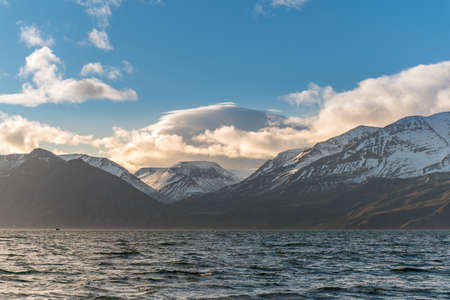 snowcapped: Snow-capped mountains with blue sky