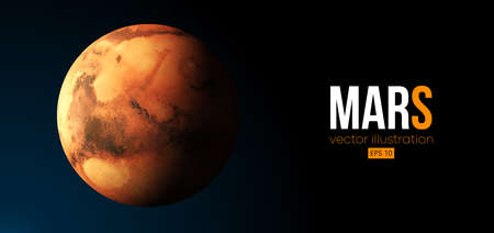 Realistic Mars planet from space. Vector illustration
