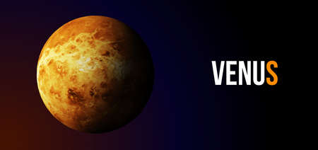 Realistic Venus planet from space. Vector illustration