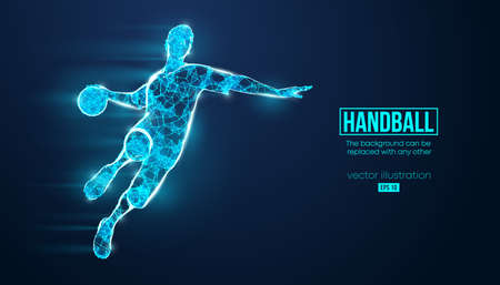 Abstract silhouette of a wireframe handball player from particles on the background.