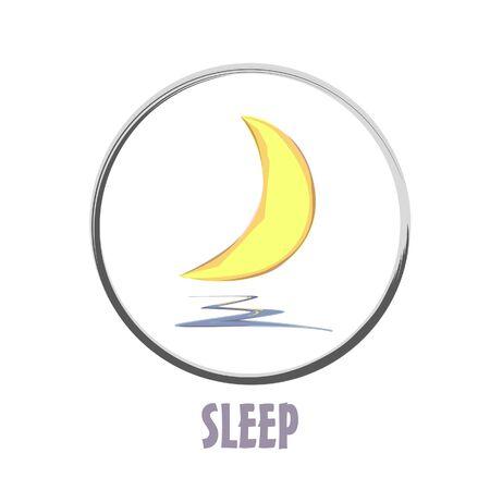 Icon basic sleep under the moon shard design 向量圖像