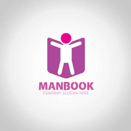 Man Book with grey illustration background. Ilustração