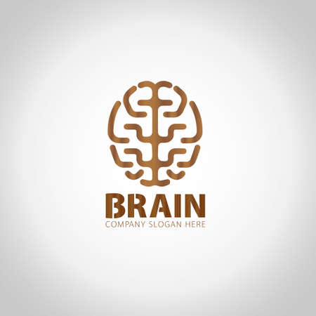Brain with grey illustration background.