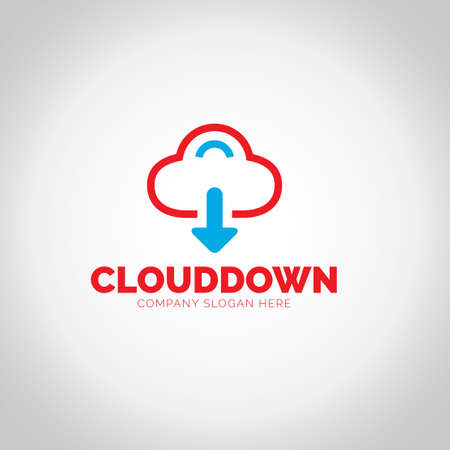 Cloud Download with grey illustration background.