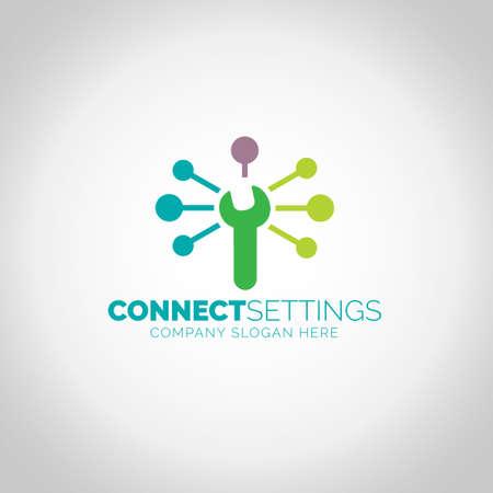 Connect Settings with grey illustration background. Ilustração