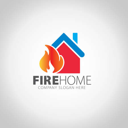 Fire Home with grey illustration background.