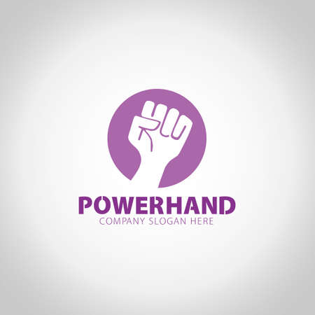 Power Hand with grey illustration background.