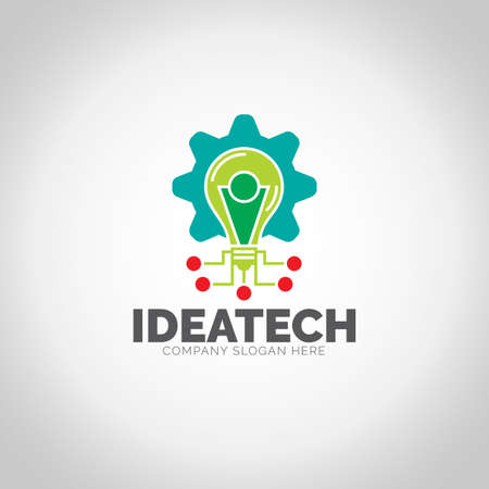 Idea Tech with grey illustration background.