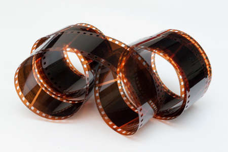 Photographic film in roll with white background