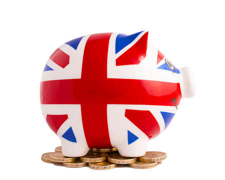 Smiling Union Jack Piggy Bank on white background photo