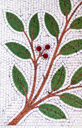 Tiled Mosaic of Tree Branch with Green Leaves and Red Berries photo