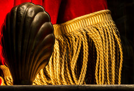 showbusiness: Stage Footlight with Red & Gold Curtain Stock Photo