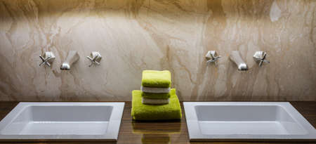 double sink: Luxury Double  Bathroom Sink with Green   White Tiles in the Centre Stock Photo
