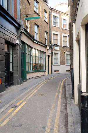 Traditional London Back street with Double Yellow Lines