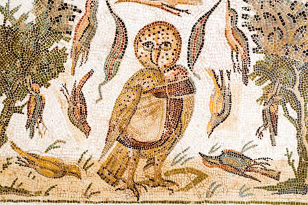 Roman Mosaic of an Owl with surrounding scene