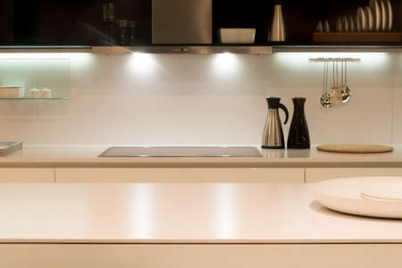 Contemporary Kitchen Work Surface Stock Photo