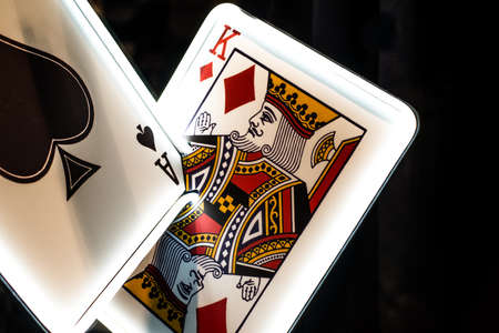 Large Ace of Spades and King of Diamonds with White Neon Border