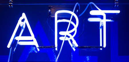 Illuminated Blue Neon Art Sign Stok Fotoğraf