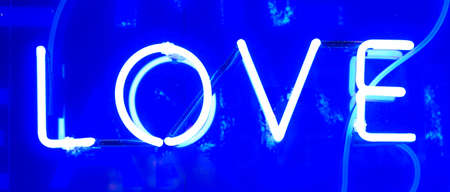 Blue Illuminated Neon Love Sign