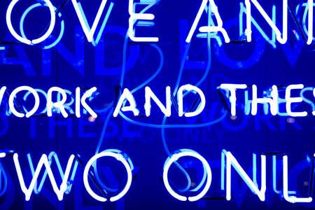 Illuminated Blue Neon Sign