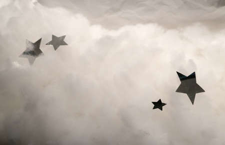 float cotton cloud: Two 5-point Silver Stars Flying in Fluffy White Clouds