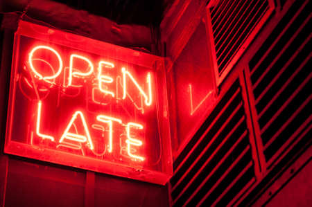 late: Red Neon Open Late Sign