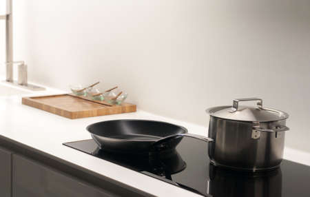 hob: Contemporary, Clean and Bright Kitchen Hob Stock Photo