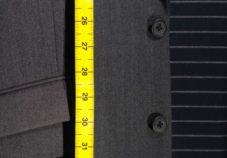 bespoke: Pin-Striped Business Suit with Yellow Tape Measure