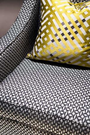 スタイリッシュなパターンのクッションが付いている美しくエレガントな椅子