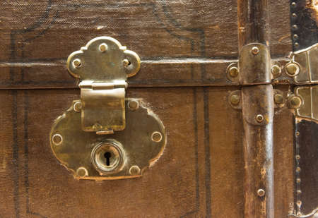 to clasp: Vintage and Worn Travel Chest with Lock, Clasp and Latch