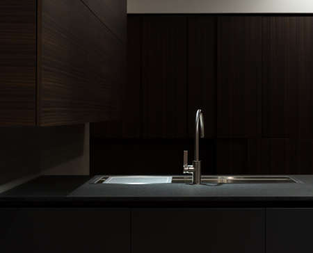 interior lighting: Clean and Minimalist Kitchen Cabinets and Worktop with Stainless Steel Kitchen Sink