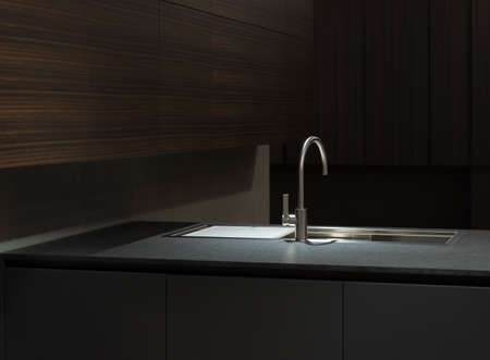 Clean and Minimalist Kitchen Cabinets and Worktop with Stainless Steel Kitchen Sink
