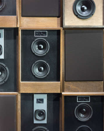 loud speaker: Old Style Wooden Electronic Music Speakers Stacked Next To Each Other
