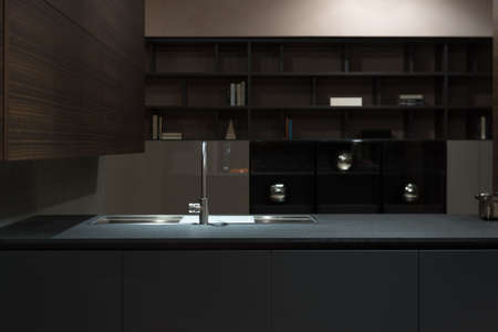 kitchen cabinets: Clean and Minimalist Kitchen Cabinets and Worktop with Stainless Steel Kitchen Sink