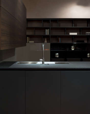 cabinets: Clean and Minimalist Kitchen Cabinets and Worktop with Stainless Steel Kitchen Sink