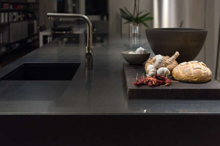 stone: Cool and Classy, Modern and Stylish Kitchen with Black Granite Stone Worktop