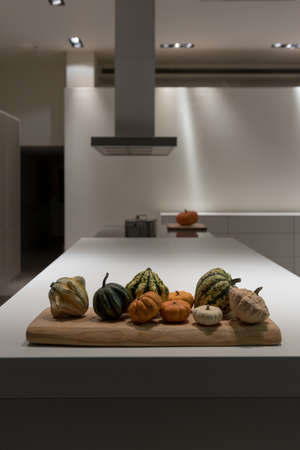 counter top: Various Autumnal Fall Vegetables on Modern Kitchen Counter Top Stock Photo