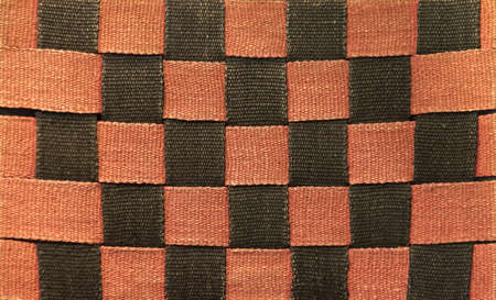 interlinked: Rough Red and Black Interwoven Canvas Strap  Material Stock Photo