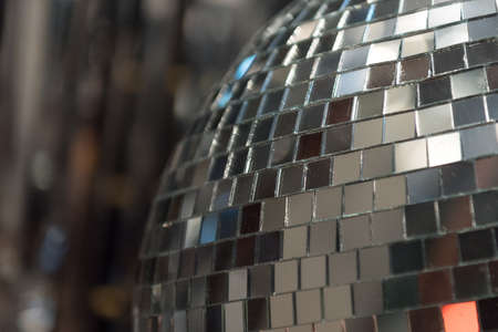 dancefloor: Close up of Mirrored Disco Ball Stock Photo