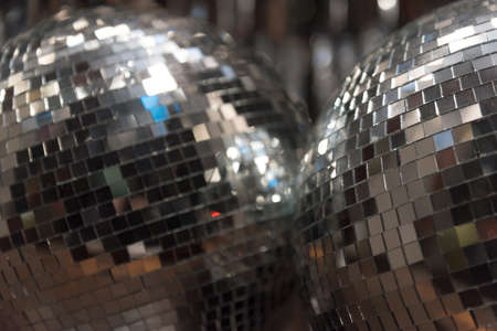 mirrored: Close up of Mirrored Disco Ball Stock Photo