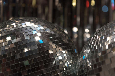 mirrorball: Close up of Mirrored Disco Ball Stock Photo
